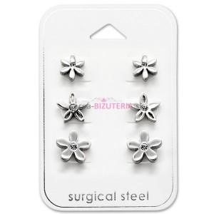 Set puzetových náušníc z ocele - kvetinky