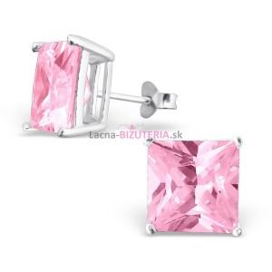 Puzetové náušnice s ružovým kameňom 10 mm x 10 mm