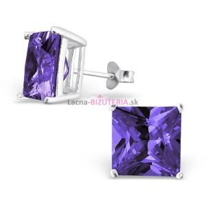 Puzetové náušnice s fialovým kameňom 10 mm x 10 mm