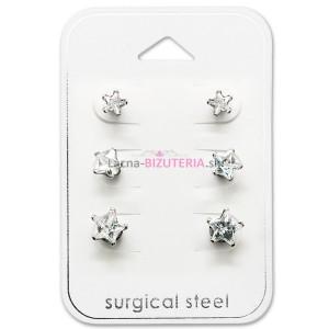 Set puzetových náušníc z ocele - mini hviezdičky